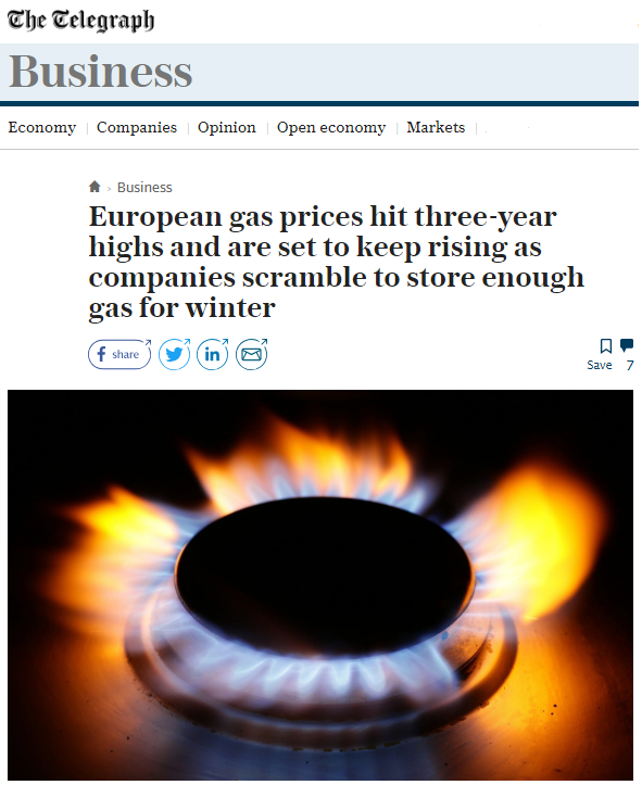 The Telegraph covers the recent rises in gas prices