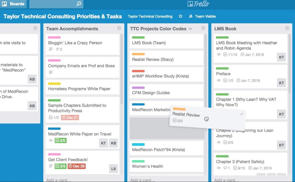 A screenshot showing dragging a card across lists in Trello