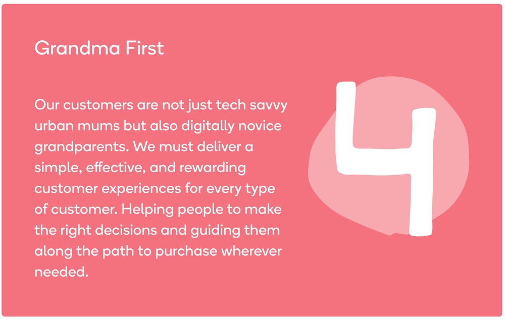 """Wonderbly's """"Grandma first"""" principle as shown on their    design system website"""