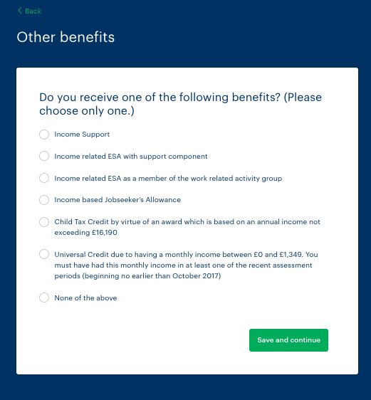 This is one of the benefits selection screens.