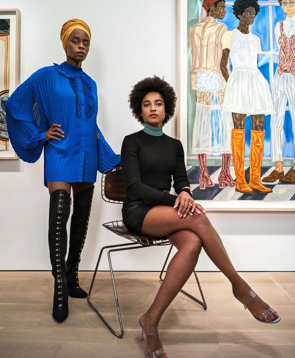 Toyin Ojih Odutola (left) and Rujeko Hockley (right) at Jack Shainman Gallery for Elle Magazine. Ph: Henry Leutwyler