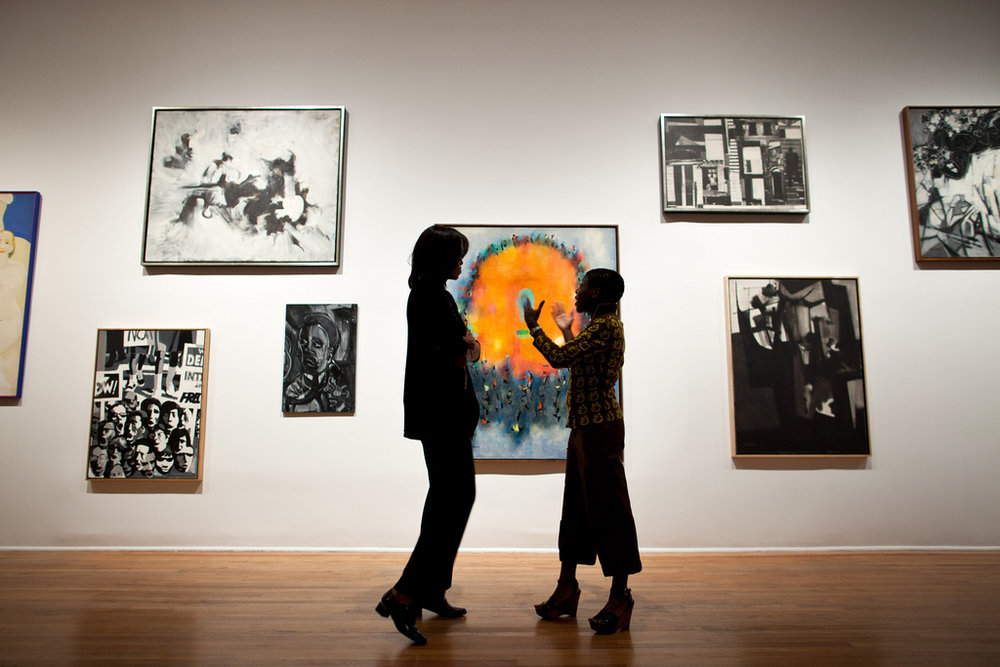 First Lady Michelle Obama talks with Director and Chief Curator Thelma Golden during a tour of the Studio Museum in Harlem, in New York, N.Y., Sept. 21, 2011. (Official White House Photo by Chuck Kennedy)