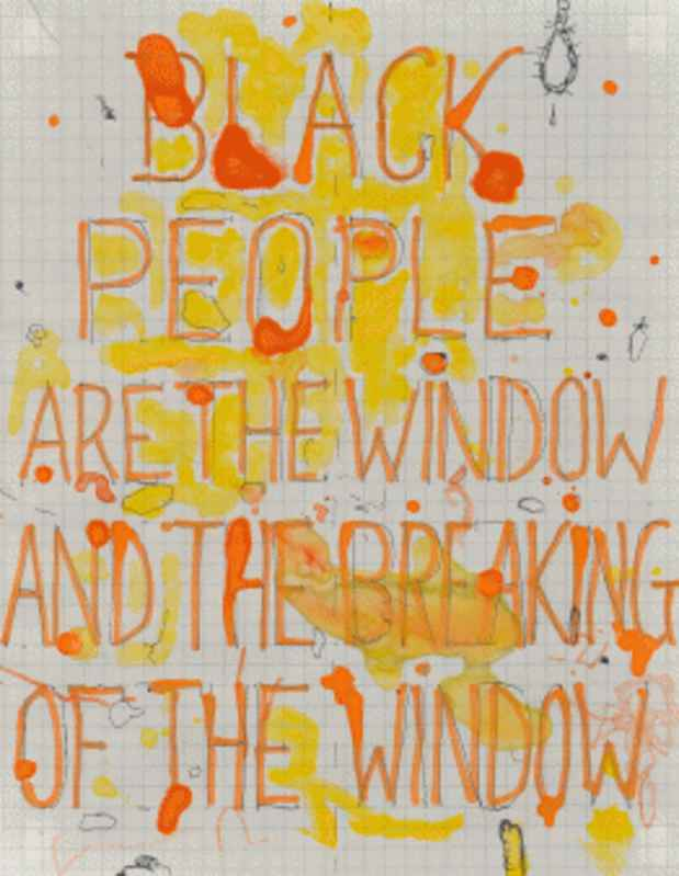 Pope.L,  Black People Are the Window and the Breaking of the Window , 2004 Ph:Marc Bernier.  Above: Ph: Bryan Conley, Courtesy MOCA Los Angeles