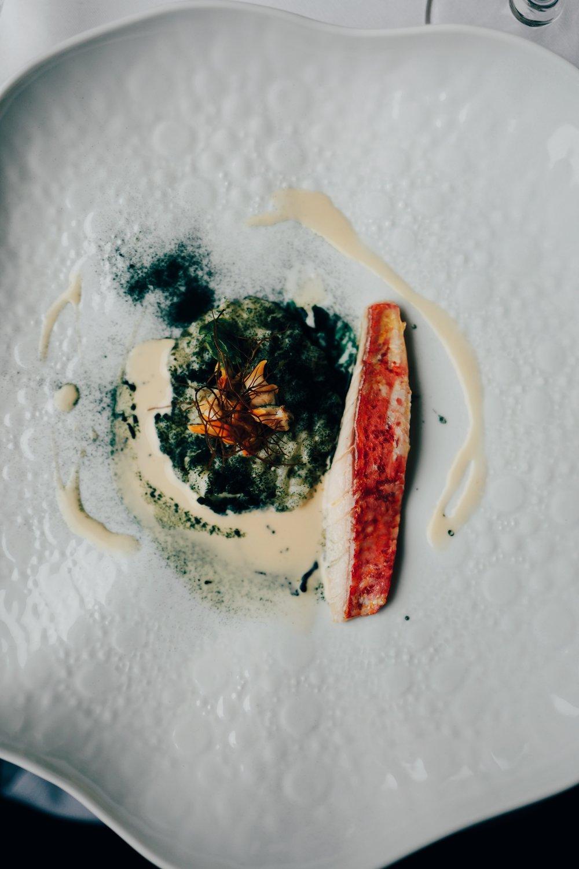 Salmonete, arroz de salicórnia queimada e berbigões da Foz do Arelho /  Mullet, burned salicornia rice and cockles from Foz do Arelho