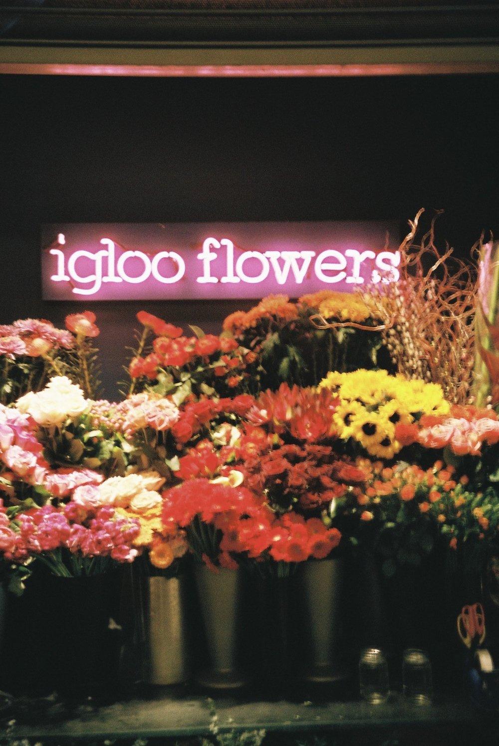 A flower shop at Waterloo station.  / Uma banca de flores em Waterloo.