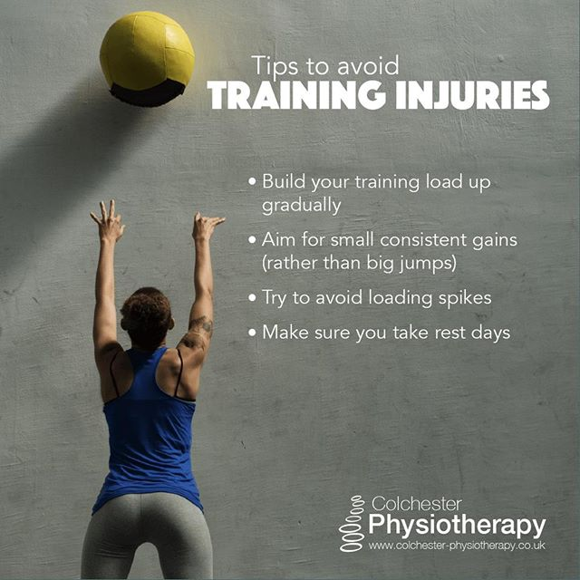 Tips for avoiding training injuries 🏊 🏋️ 🚴 🏃 ⠀ ⠀ Most training injuries are down to load management. Increasing training load is good, high training loads or lifting heavy weights isn't bad for us⠀ ⠀ It's changing load to quickly, or not having enough rest 🛌 💤 that causes problems.⠀ #ColchesterPhysiotherapy ⠀ #Colchester #Essex #pain #shoulderpain #backpain #kneepain #neckpain #hippain #CrossFit #Exercise #Workout #Gains #Squats #Weights #Deadlifts #GymLife #GirlsWhoLift #StrengthTraining #Fitness #Bodybuilding #Yoga #Pilates⠀ #Running #RunnersOfInstagram #Marathon #Trailrunning #Instarunners #Instarunners #LoveRunning #Runnerlife