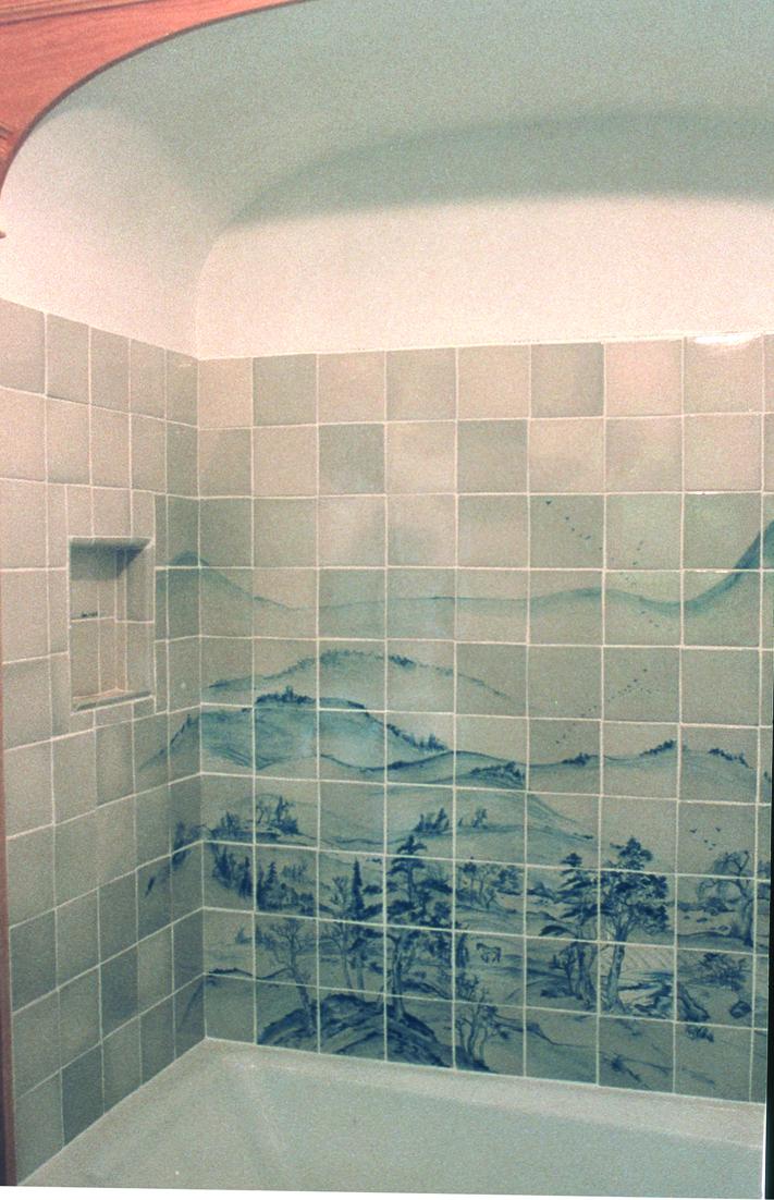 Tub and Shower Custom Tile Mural