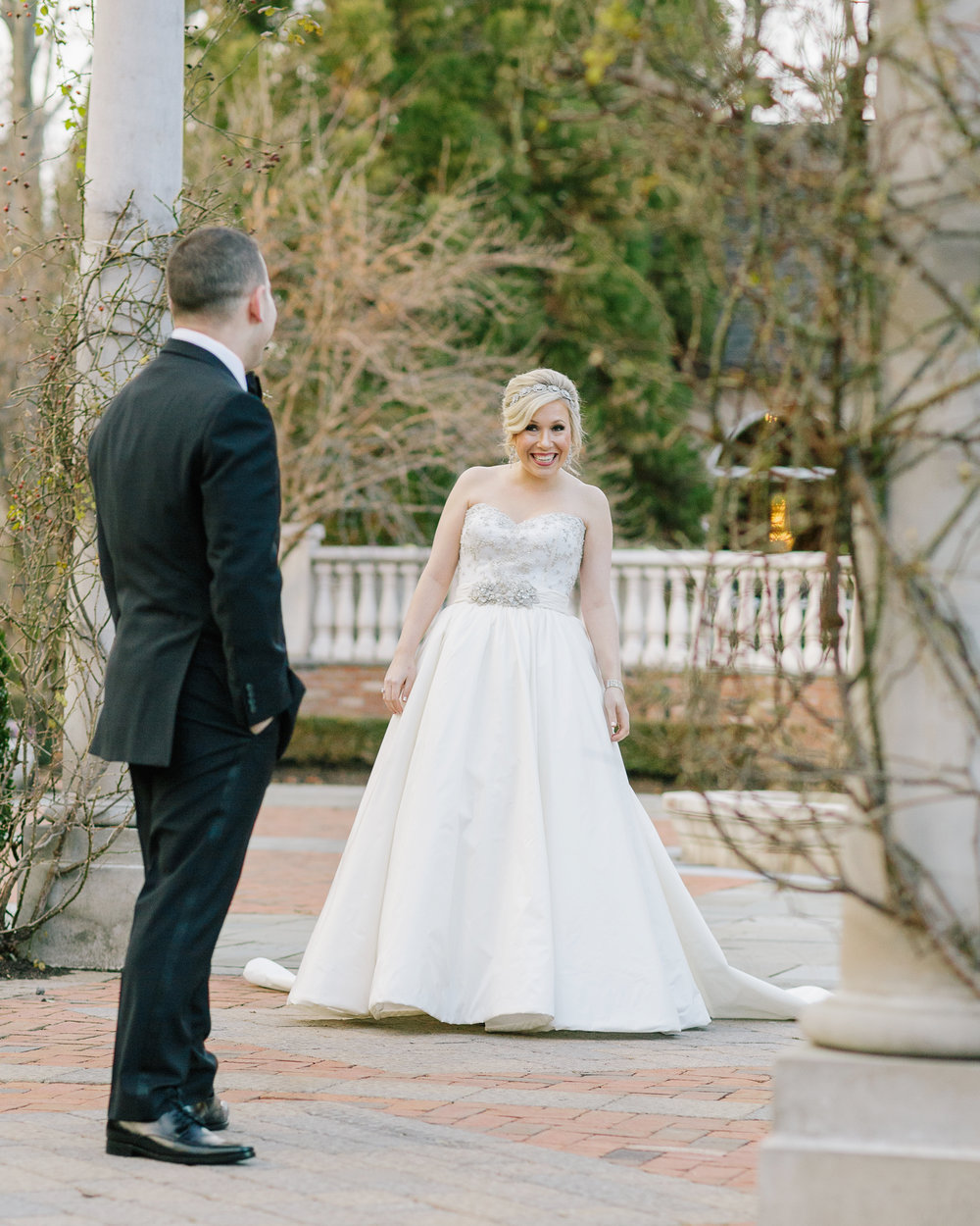 A cold December day didn't stop Taylor from enjoying this moment with groom Adam.