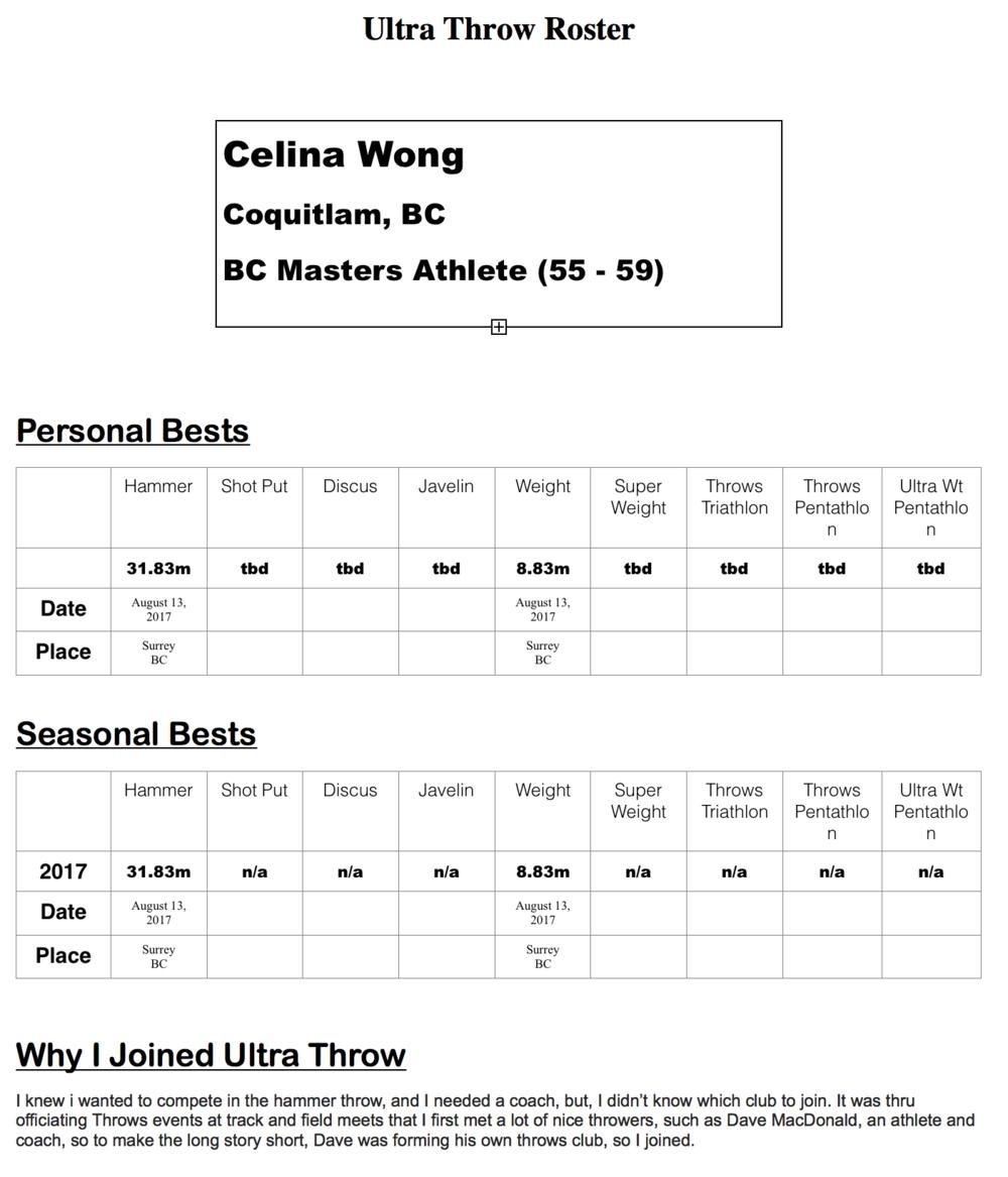 Celina wong, BC Masters athlete (55-59), Port Coquitlam