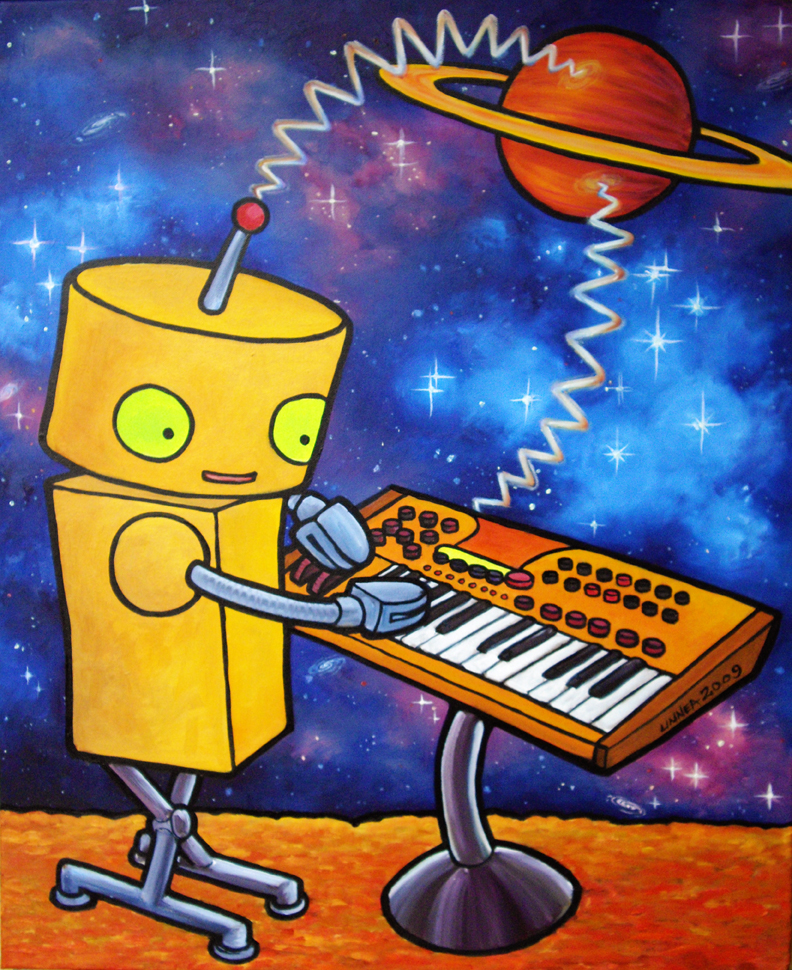 Synthbot.  acrylic on canvas, 2009.