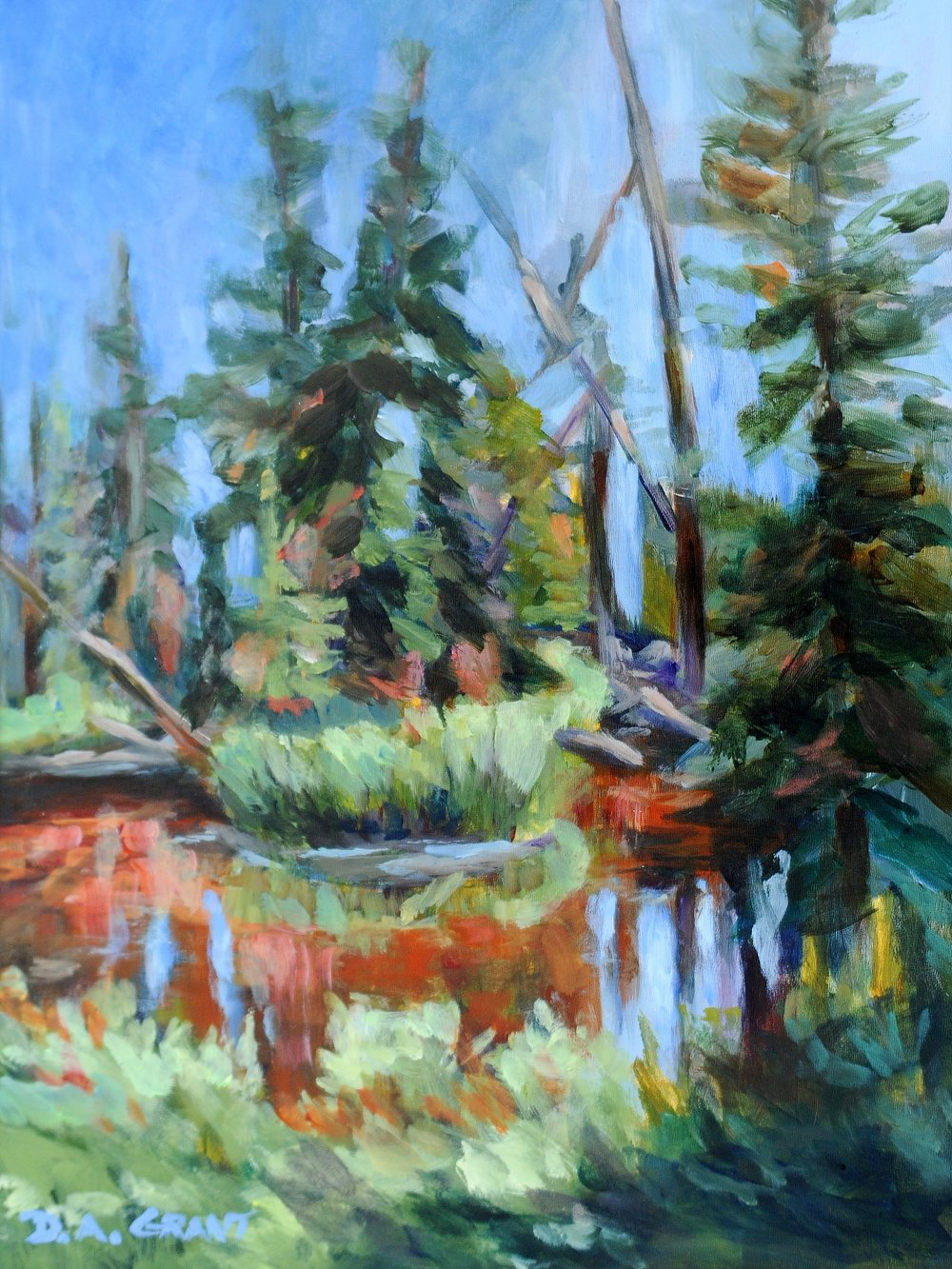 """Spruce River"" (Waskesiu), acrylic, 12x16"