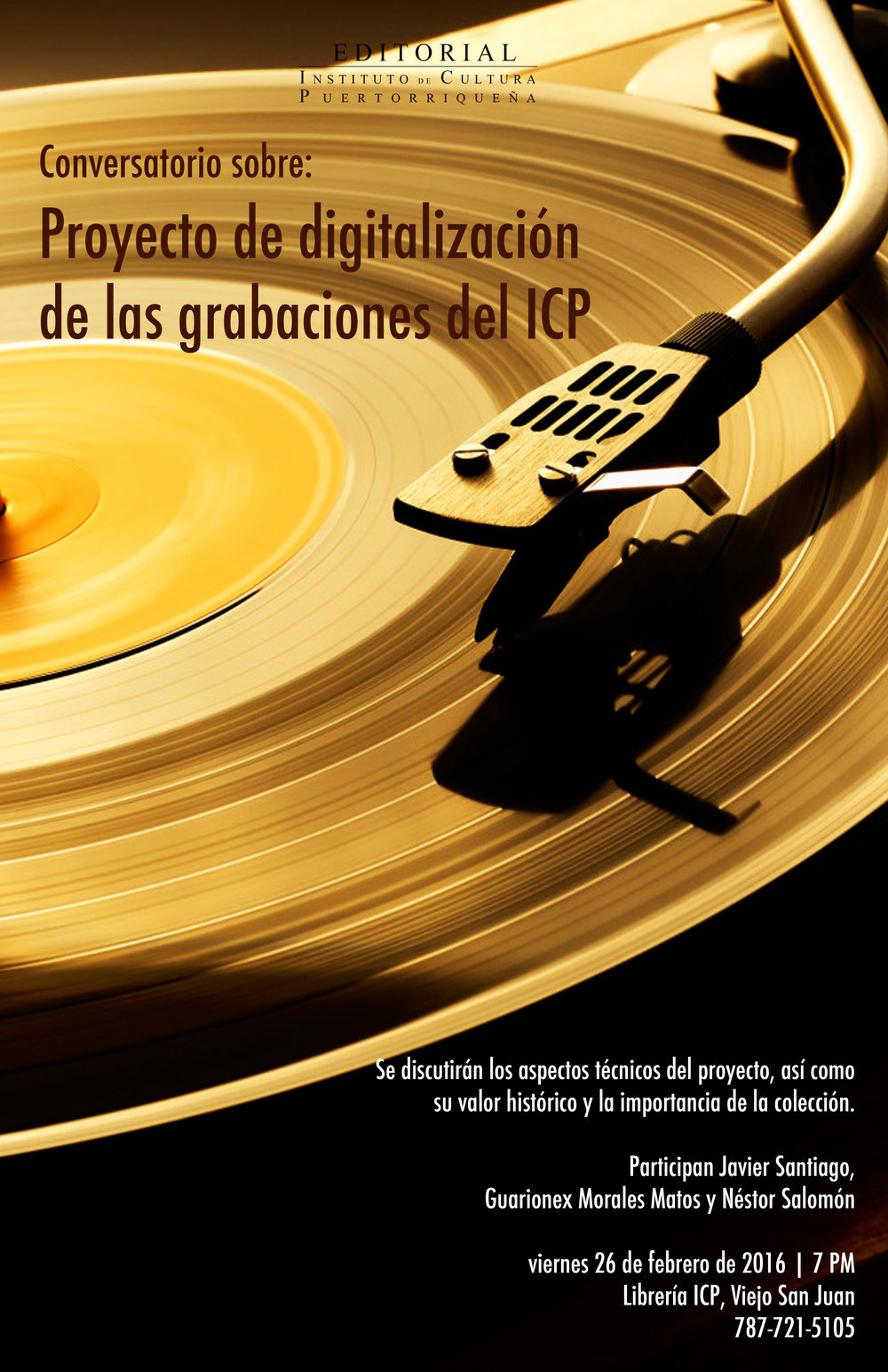 Afiche promocional sobre el conversatorio pasado presentando el proyecto de digitalización de la Colección de Grabaciones.