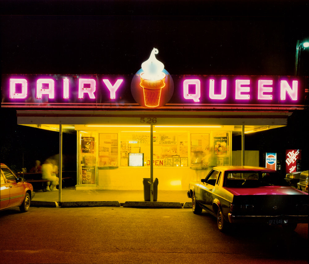 JIM DOW Dairy Queen at Night, US 6, Iowa City, IA, 1988