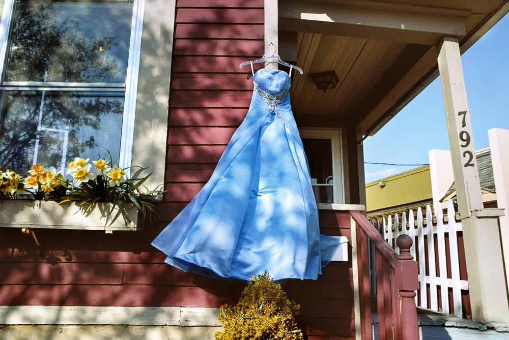 REBECCA NORRIS WEBB South Wedge (Blue Secondhand Prom Dress), Rochester, New York (from the series Memory City), 2012