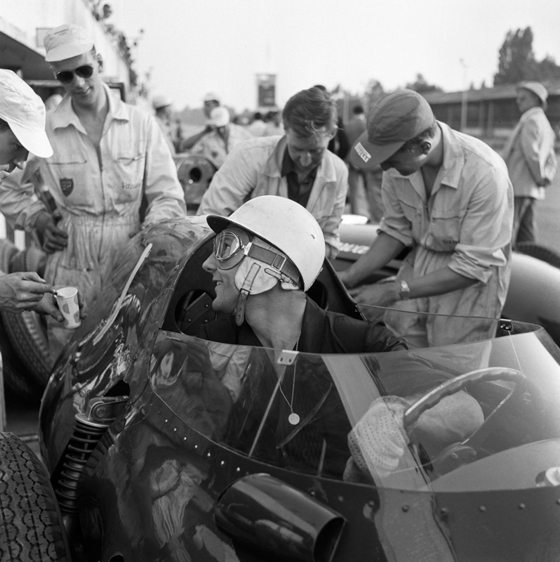 JESSE ALEXANDER,  Stirling Moss in a Vanwall , Monza, Italy, 1958
