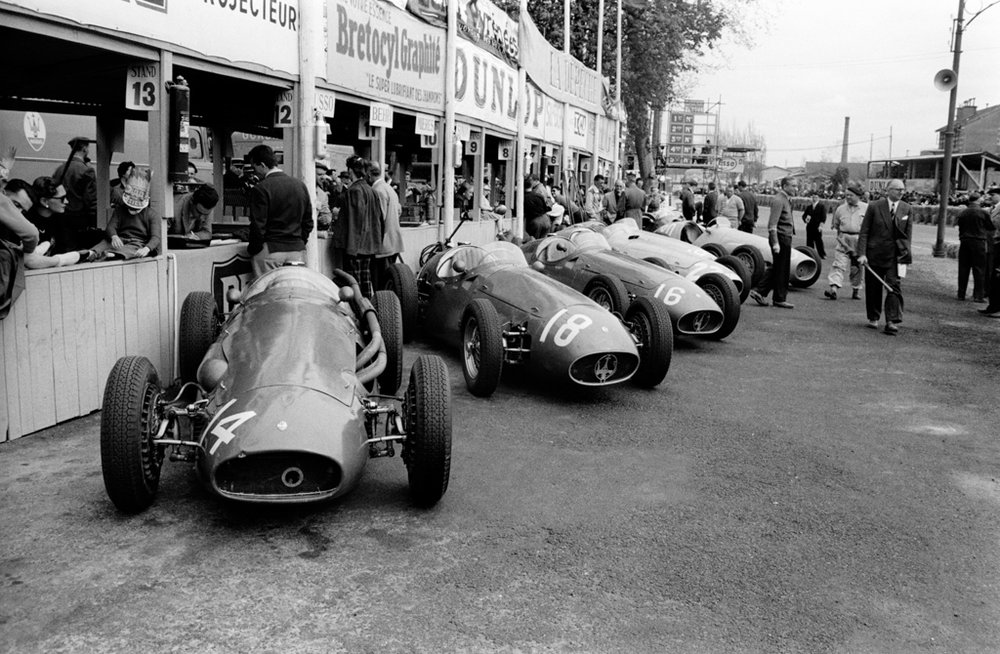 JESSE ALEXANDER, Maserati Factory Team Lined up in Pits at Pau, France, 1955