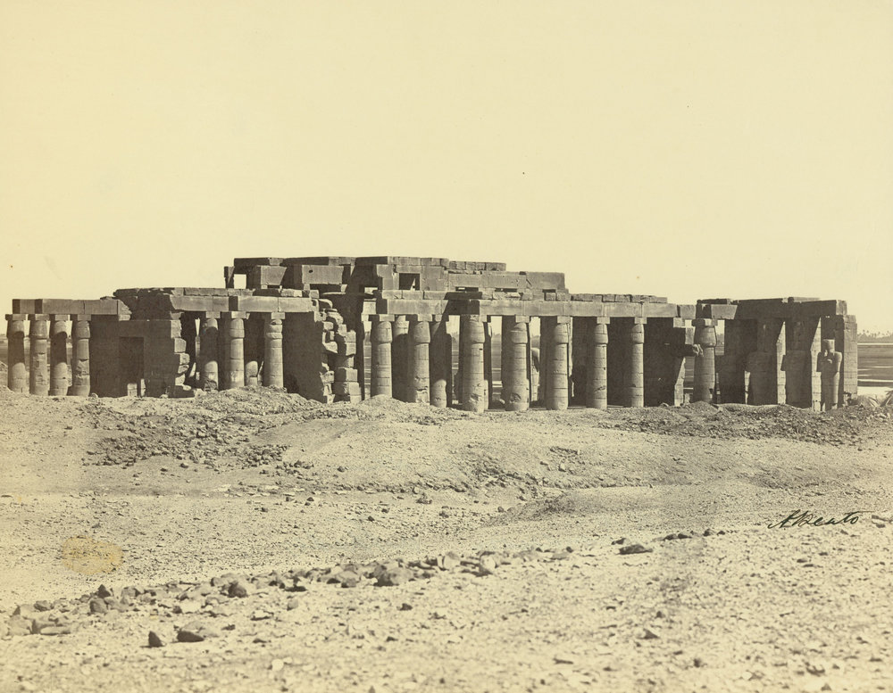 ANTONIO BEATO,  The Memnonium, or Ramesseum ,  The Temple from the South, Thebes, Egypt  c. 1887