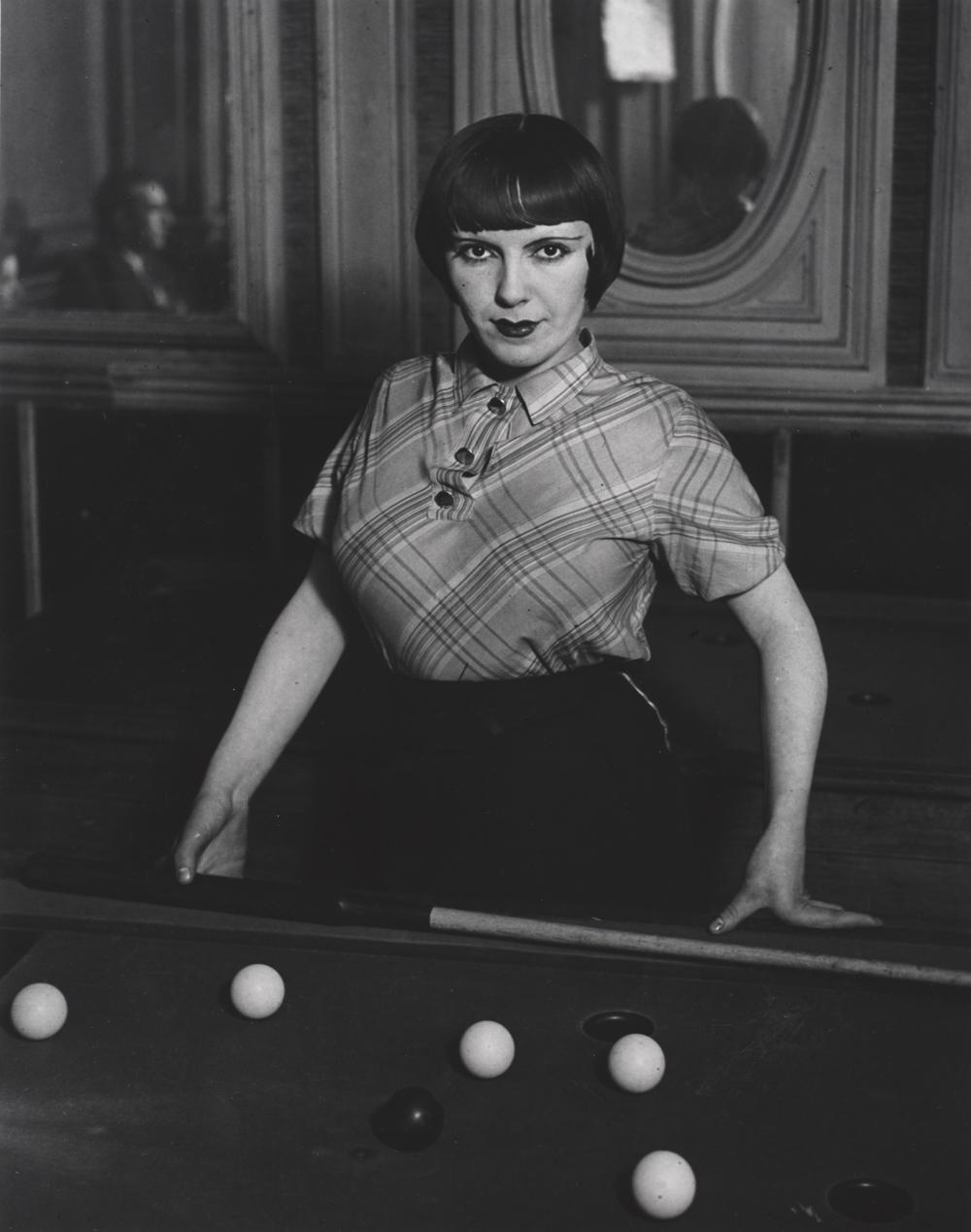 BRASSAI,  Girl Playing Russian Billiards , Montmartre, Paris,1933/1973