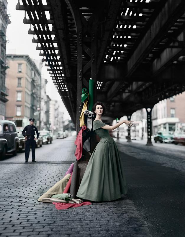 WILLIAM HELBERN, Dovima Under the El (Gown by Dior) , 1956