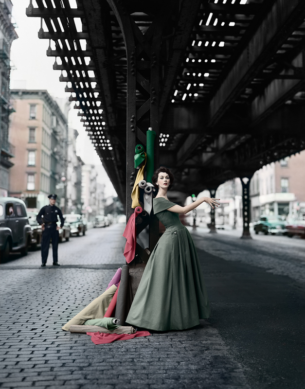 WILLIAM HELBERN,  Dovima Under the El (Gown by Dior) , 1956
