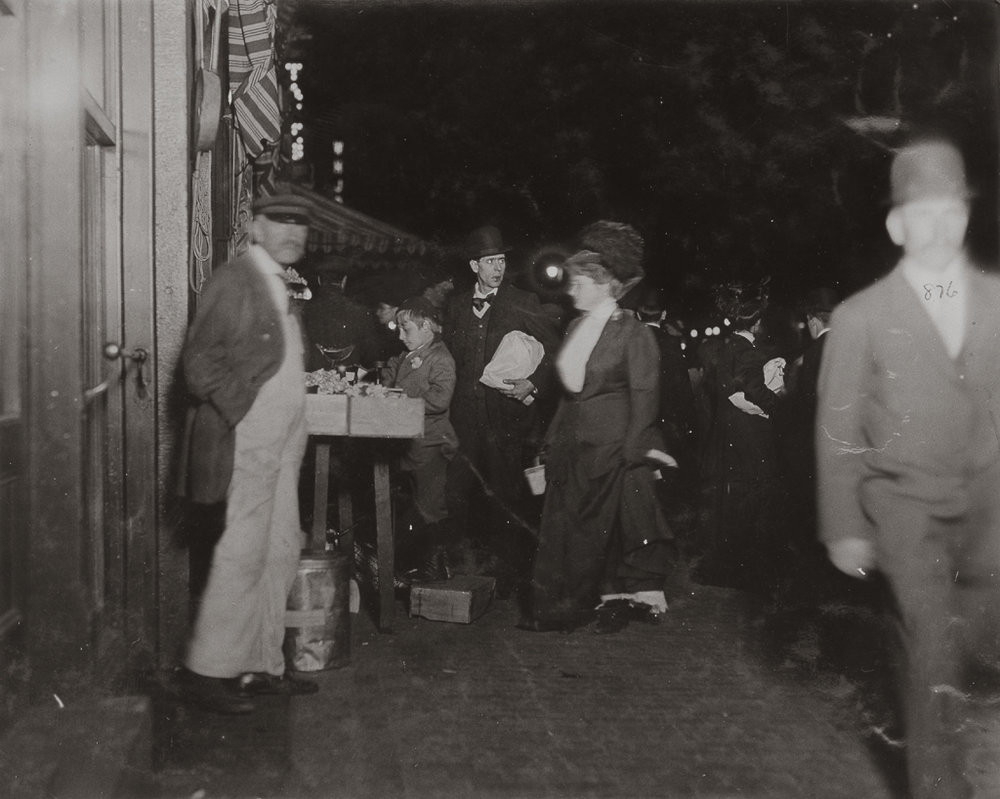LEWIS WICKES HINE,  Small Vendor Selling Late at Night in Boston Market , Boston, Massachusetts, 1909