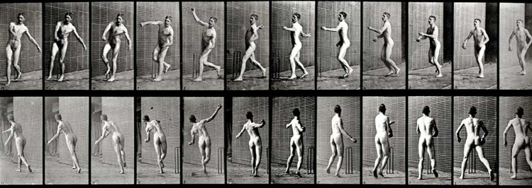 EADWEARD MUYBRIDGE, Animal Locomotion, Plate 290 (Cricket, Overarm Bowling),  1887