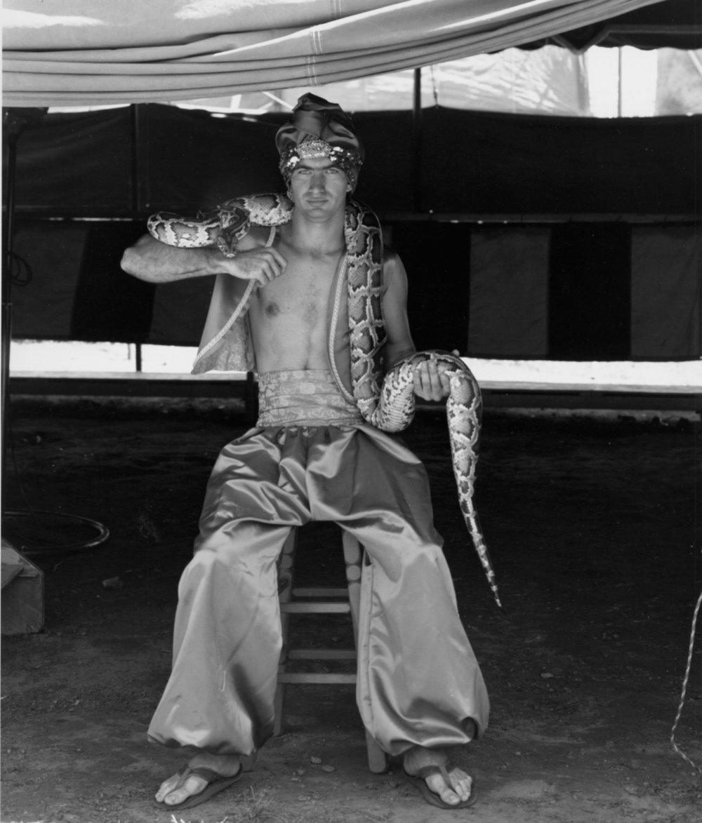 RANDAL LEVENSON,  Seated Snake Charmer, Cedar Rapids, Iowa , 1977