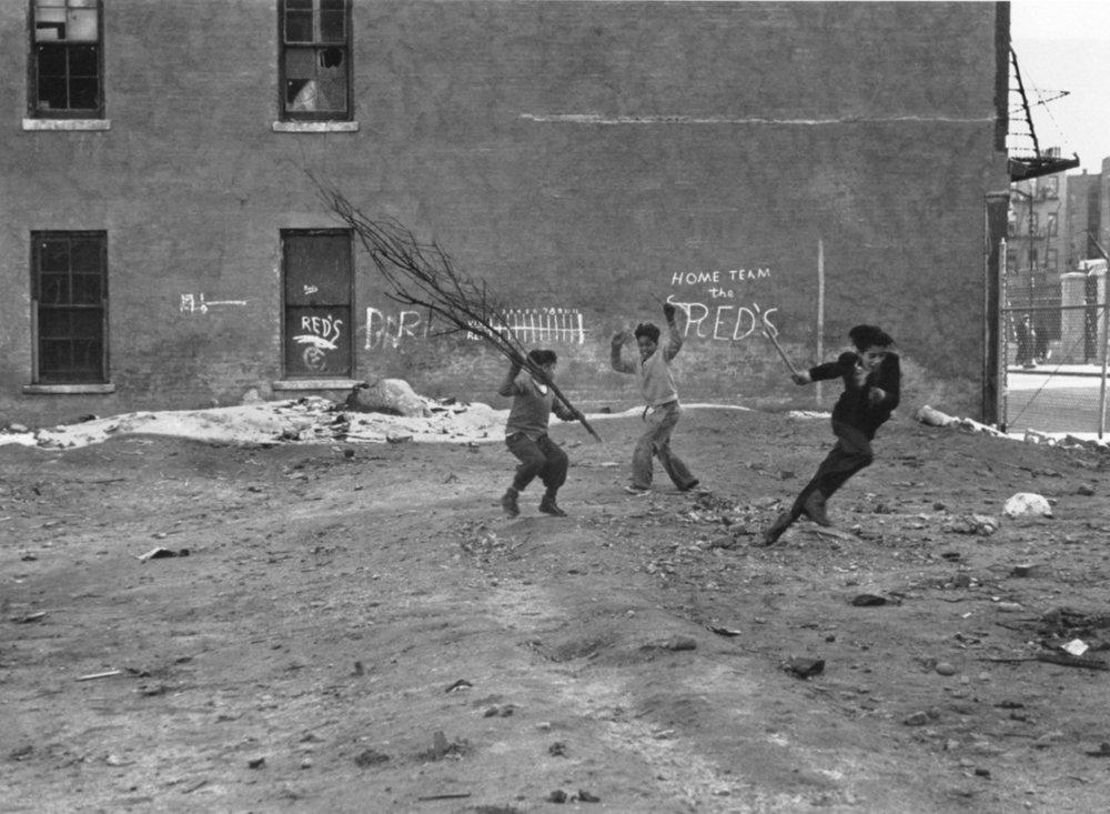 HELEN LEVITT,    Untitled (Home Team, The Reds), New York City,  c. 1940