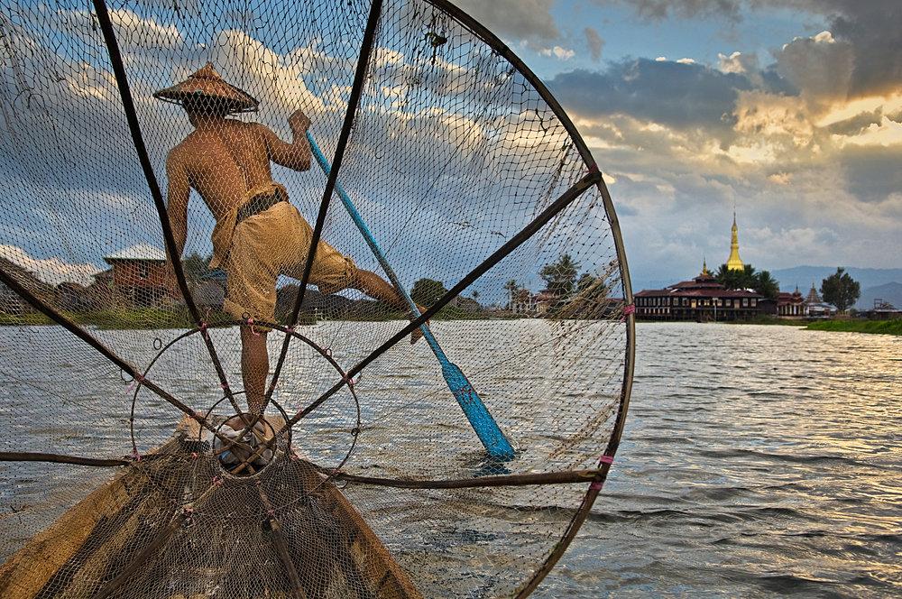 STEVE MCCURRY,  Fisherman on Inle Lake, Myanmar/Burma,  2008
