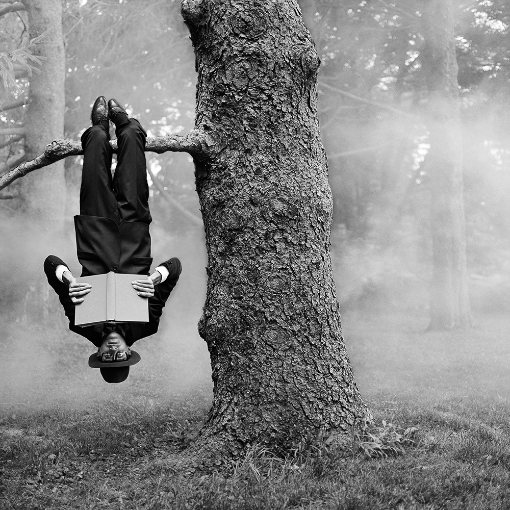 RODNEY SMITH,  Reed Reading Upside Down , Amenia, New York, 2013