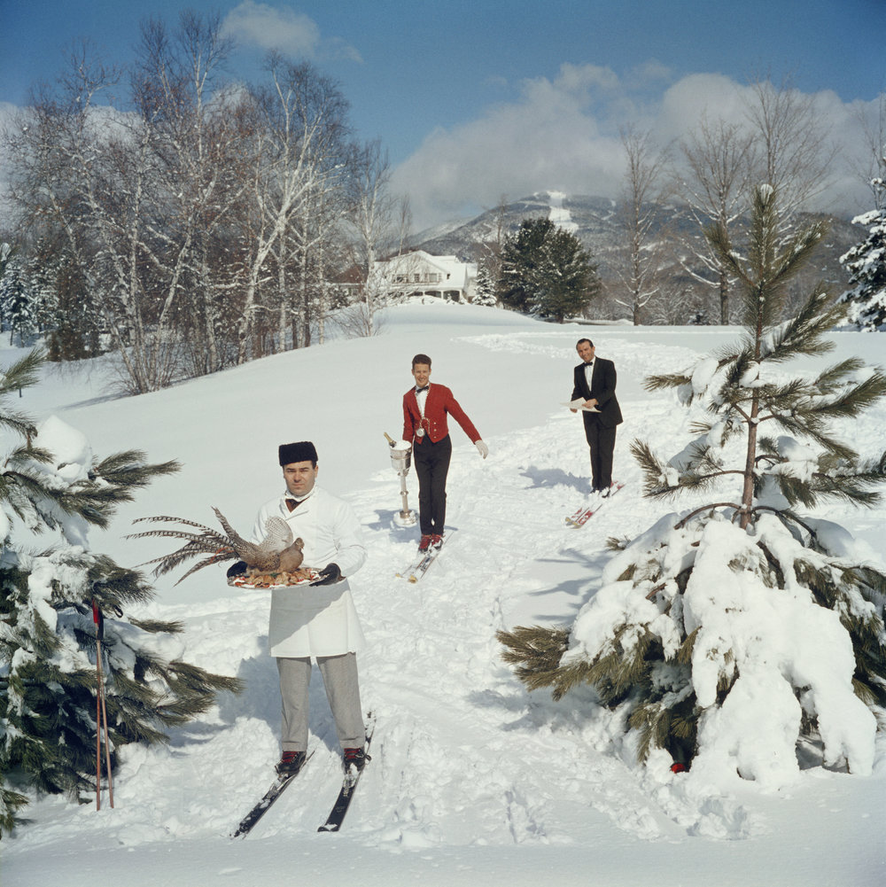 SLIM AARONS,  Skiing Waiters , 1960, courtesy Getty Image Archive