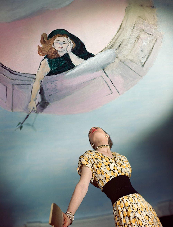 HORST P. HORST, Dress by Jo Copeland, Murals by Marcel Vertes, 1946