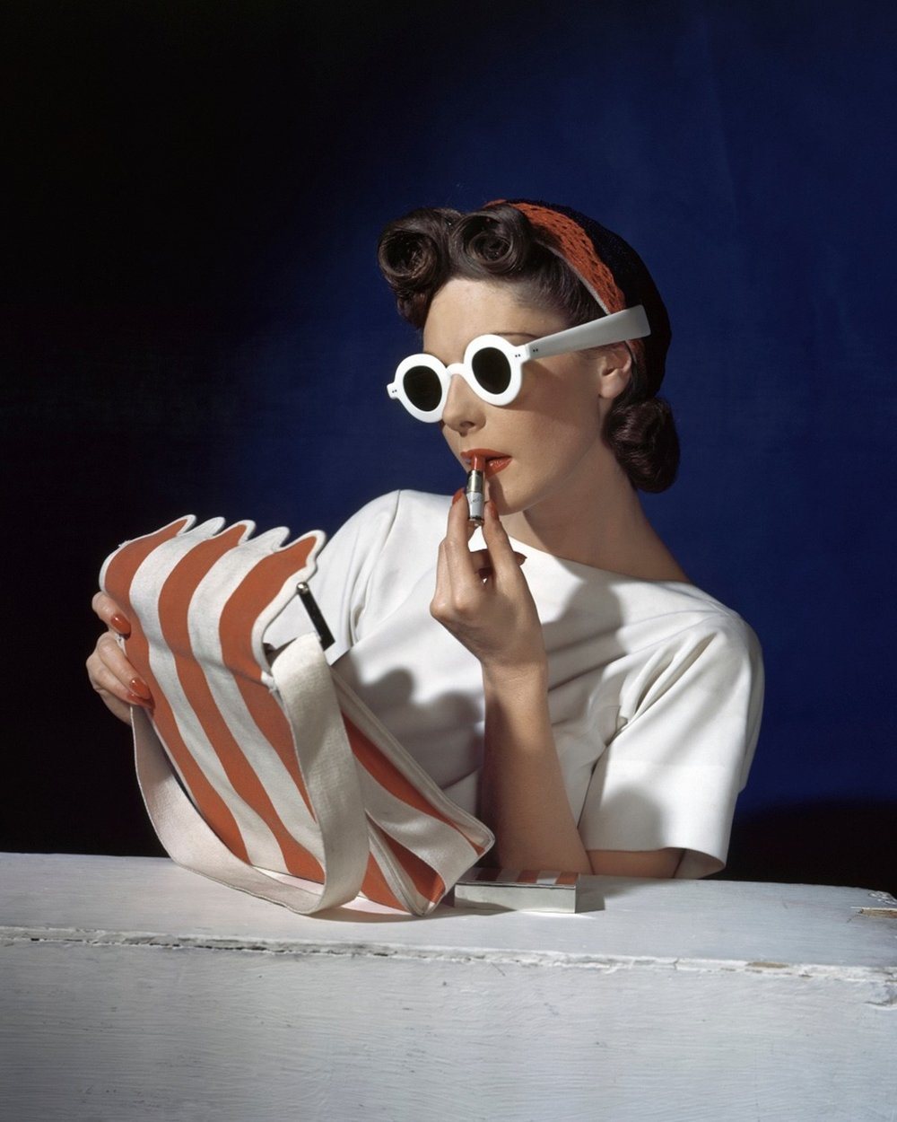 HORST P. HORST,  Muriel Maxwell, Ensemble by Sally Victor, Bag by Paul Flato, Sunglasses by Lugene,  1939