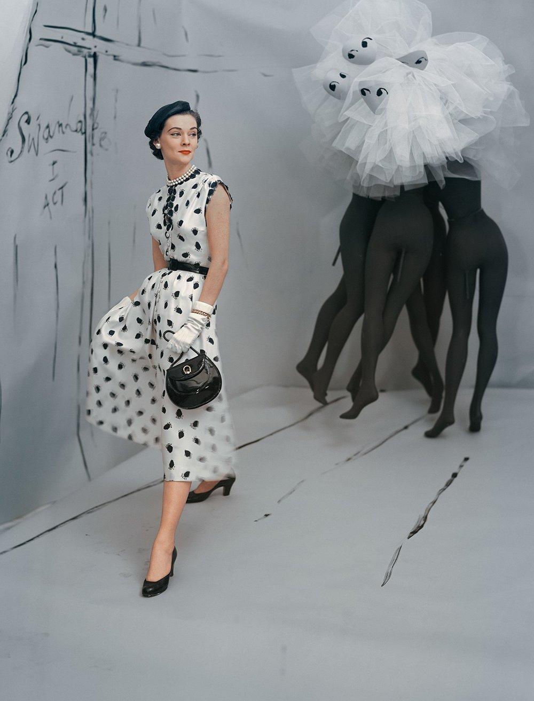 HORST P. HORST, Dress by Mollie Parnis, Background by Marcel Vertes , 1953