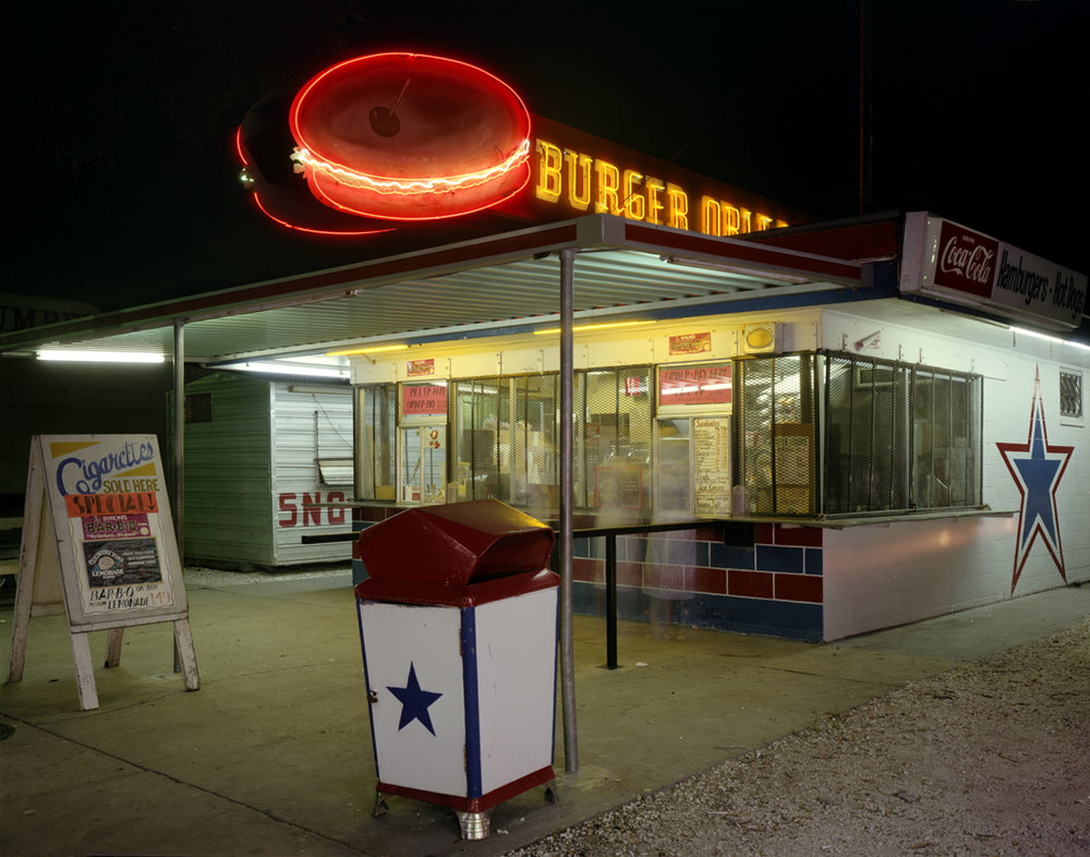 JIM DOW,  Orleans Burger Joint at Night, New Orleans, Louisiana , 1980