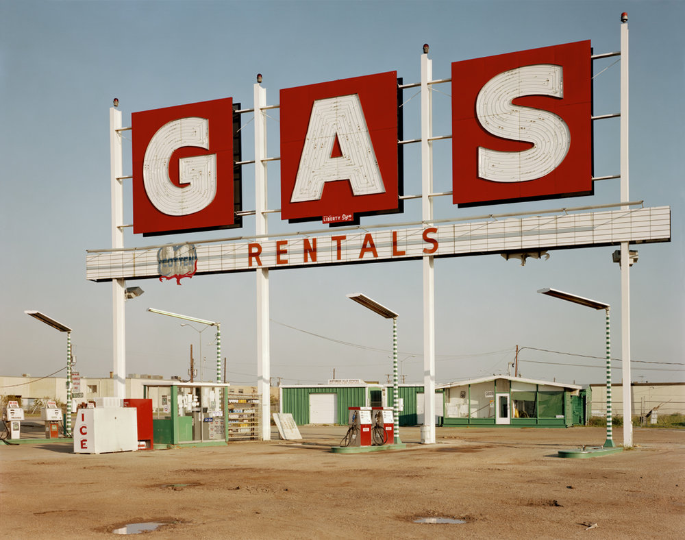 JIM DOW,  GAS Sign, US 77, Harry Hines Blvd, Dallas, Texas,  1979