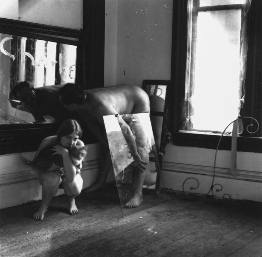 Untitled (self-portrait with cat and Charlie the life-model),  Providence, Rhode Island