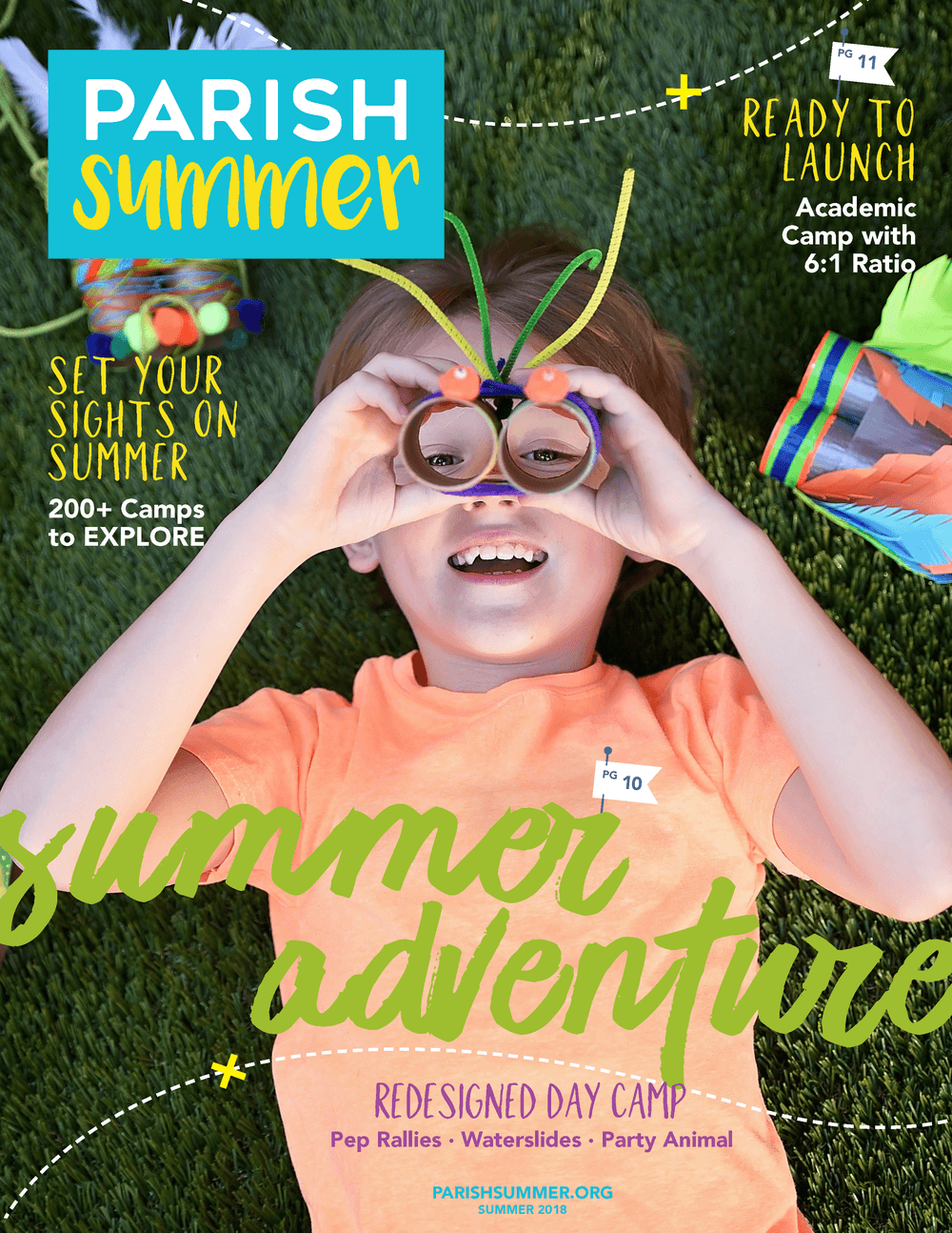 Picture of the Parish Summer 2018 catalog cover. Parish Summer offers more than 200 day camps for kids in Dallas, Texas.