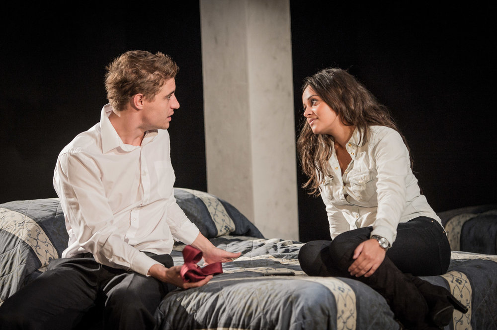 Aysha Kaka & Max Irons in Farragut North, Southwark Playhouse Off West End, composer - Jude Obermüller (photo by Robert Workman)