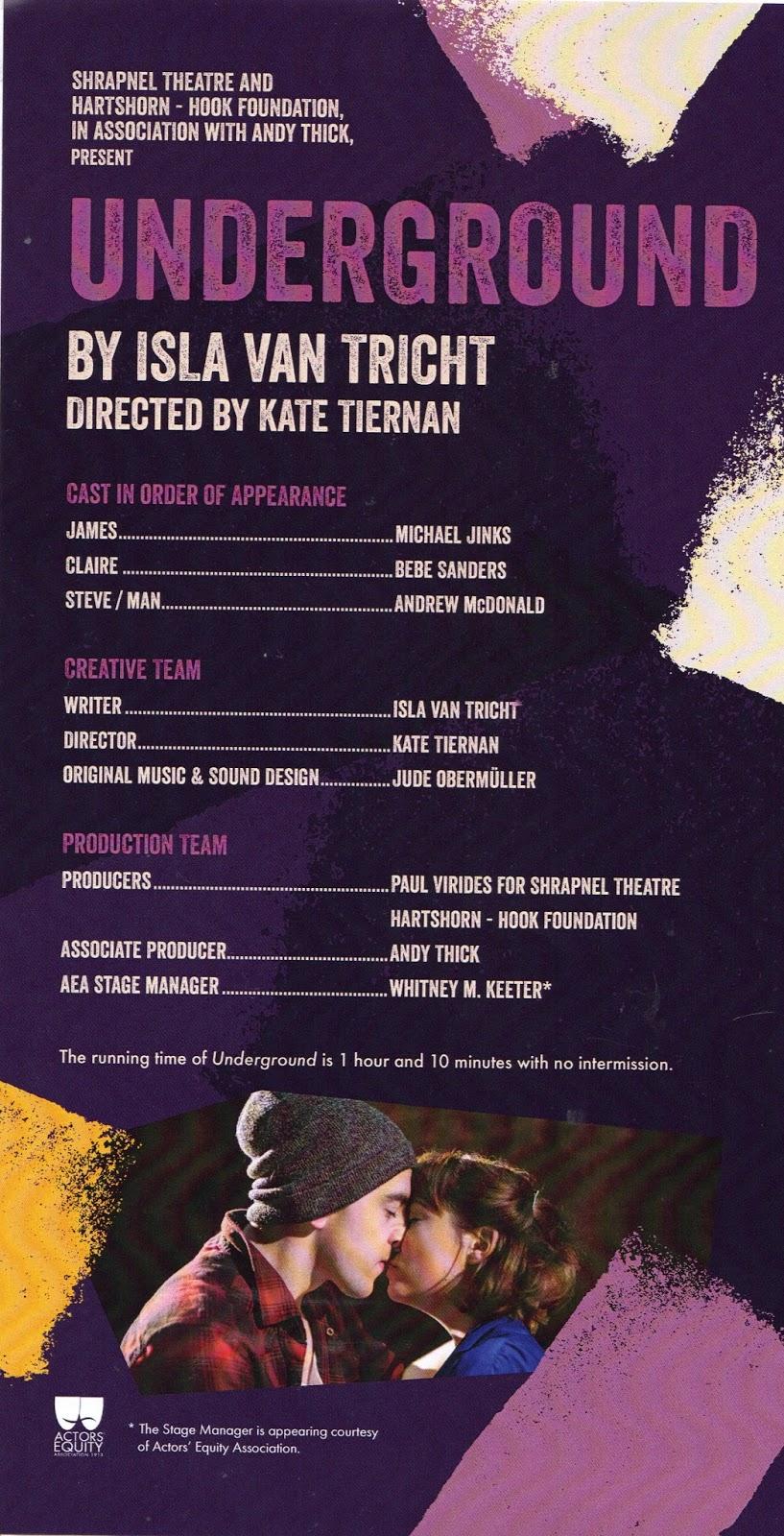 Underground programme (credits), Off Broadway, 59E59 Theatres, New York, music & sound design by Jude Obermüller.jpg