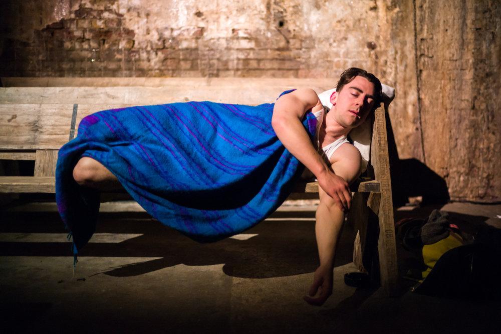Michael Jinks in Underground, Off Broadway, composer and sound designer: Jude Obermüller (Photo by Carol Rosegg)