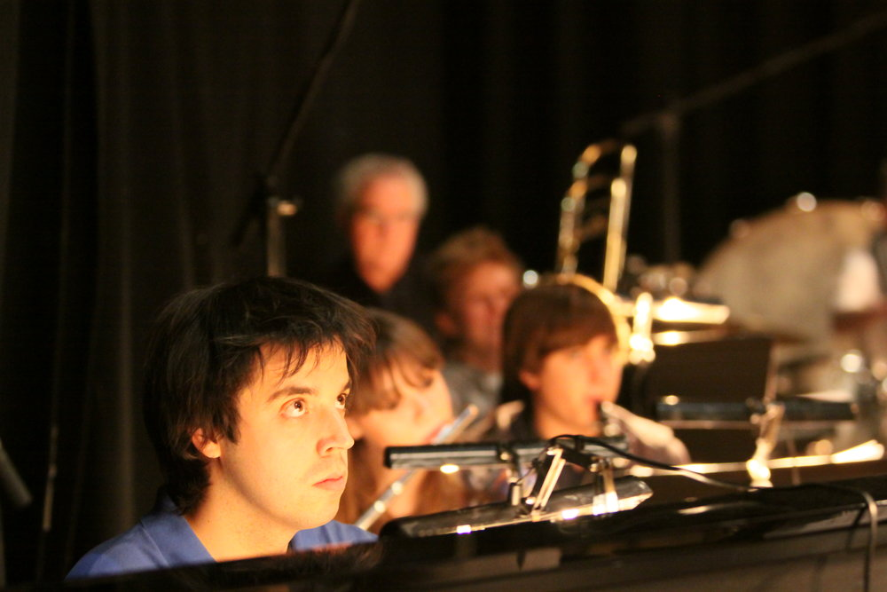 Dominic Ferris in The Forbidden Fruit orchestra, Brighton Festival, Brighton Dome, composed by Jude Obermüller (photo by Sarah Sutherland-Rowe)