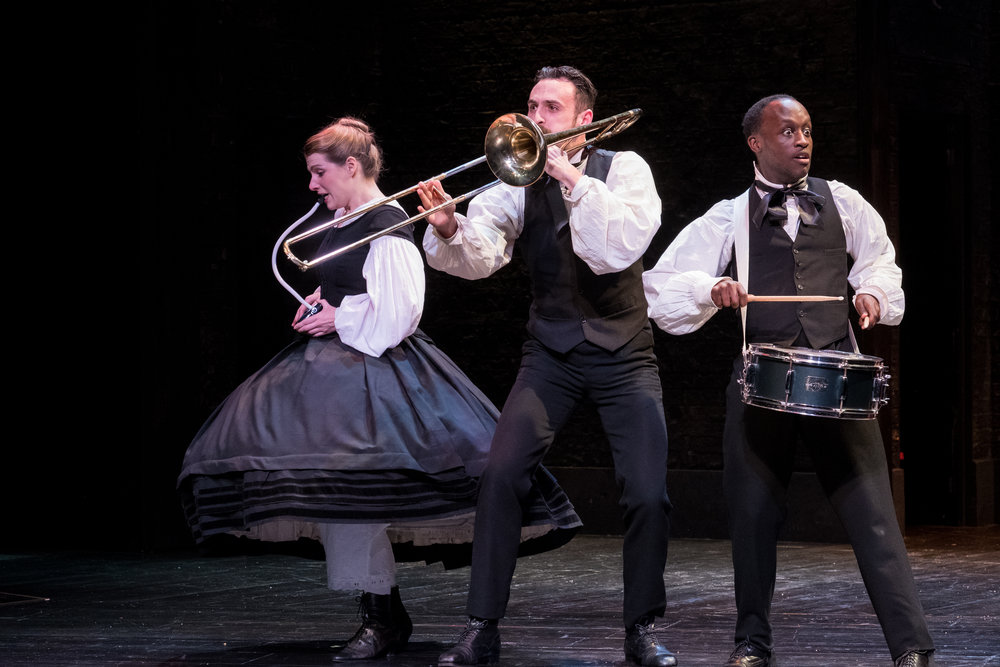 Charlotte Miranda Smith, Alex Mugnaioni & Baker Mukasa in Alice in Wonderland, Storyhouse, composed by Jude Obermüller (photo by Mark McNulty)