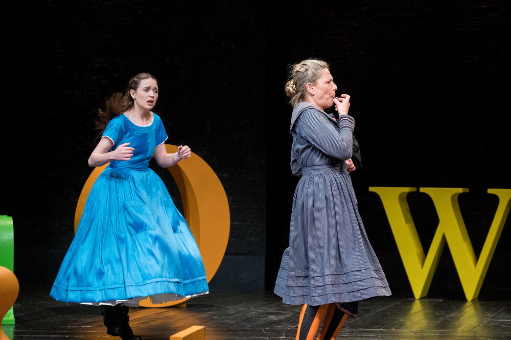 Rebecca Birch & Charlotte Gorton in Alice in Wonderland, Storyhouse, composed by Jude Obermüller (photo by Mark McNulty)