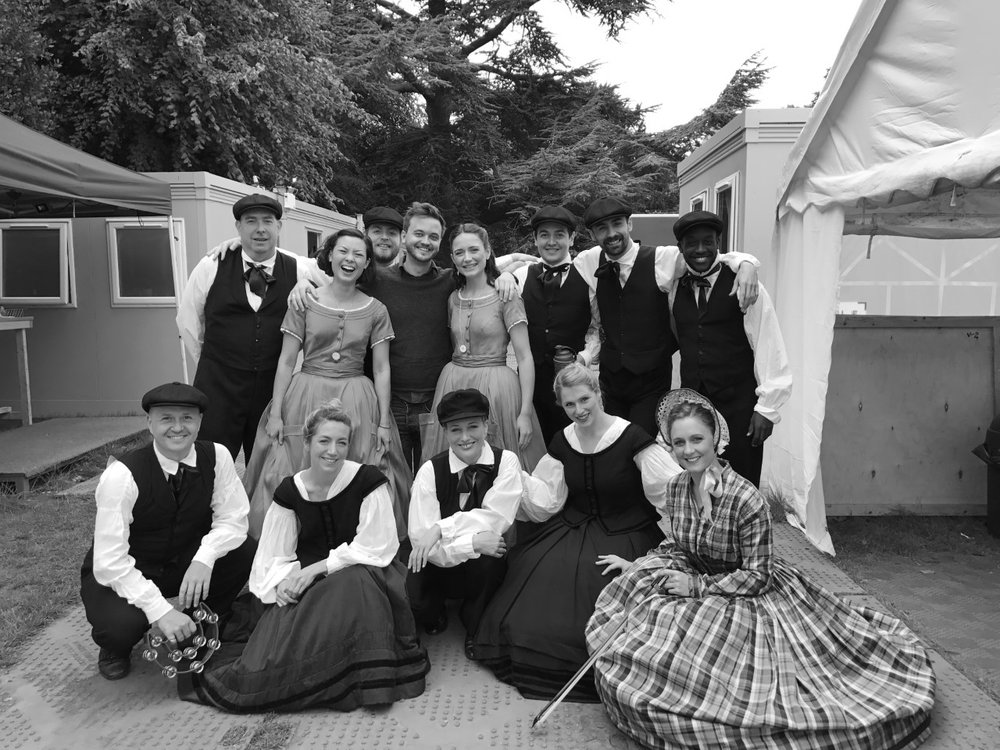with the Alice cast, at Grosvenor Park Open Air Theatre