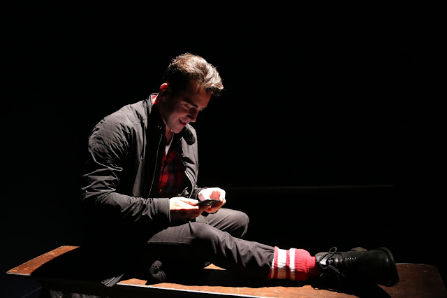 Michael Jinks in Underground, Off Broadway, composer and sound designer: Jude Obermüller (Photo by Carol Rosegg)