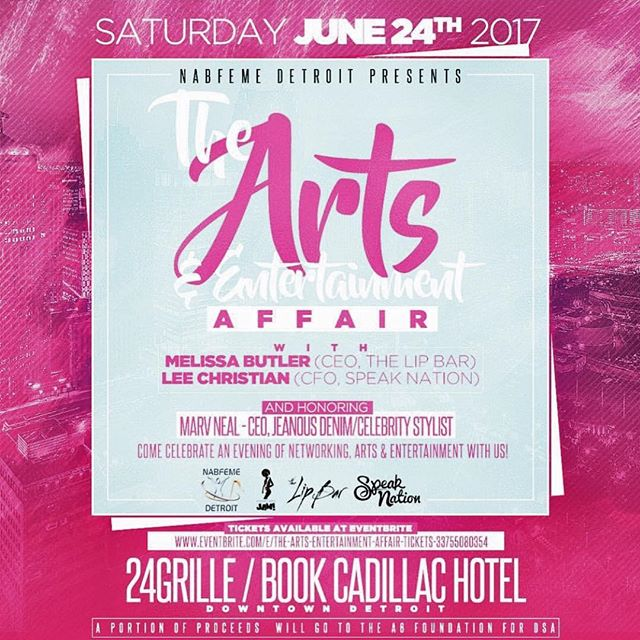 #Detroit please be sure to check out this great event Saturday June 24 6pm - 9 pm featuring: @thespeaknation @thelipbar @marvneal @thisisjoyaofficial @melissarbutler while we celebrate art and entertainment. A portion of the portion of the event will go to our A6 Foundation at the Detroit School of Arts. Click the link in the bio to purchase tickets.
