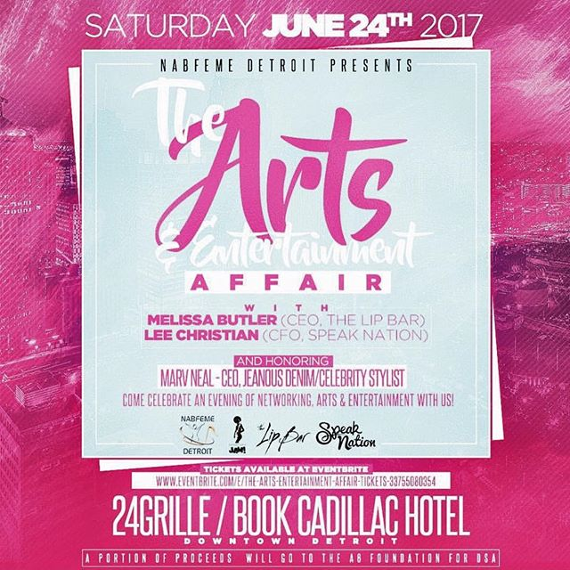 #Detroit please be sure to check out this great event Saturday June 24 6pm - 9 pm featuring: @thespeaknation @thelipbar @marvneal @thisisjoyaofficial @melissarbutler while we celebrate art and entertainment. A portion of the proceeds from the event will go to our A6 Foundation at the Detroit School of Arts. Click the link in the bio to purchase tickets.