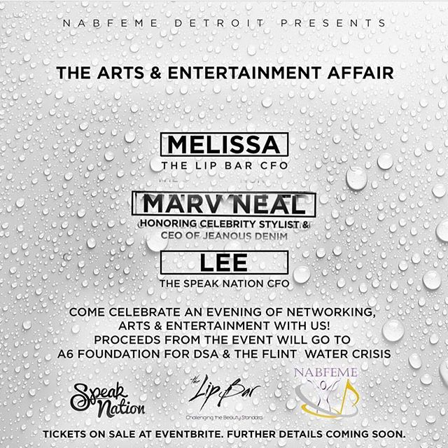 Art ➕ Music ➕ Fashion : In TWO DAYS #DETROIT!  Please be sure to check out this great event THIS Saturday June 24th 6pm - 9 pm featuring: @thespeaknation @thelipbar @marvneal @thisisjoyaofficial @melissarbutler  @nabfemedetroit while we celebrate art and entertainment. A portion of the proceeds from the event will go to our A6 Foundation at the Detroit School of Arts. Click the link in the bio to purchase tickets.