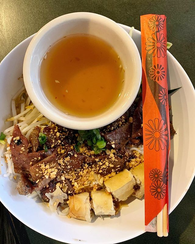 A hidden gem on Green Springs Avenue in Homewood - Pho Que Huong offers great Vietnamese food!  Pictured here is #18a on the menu - the Bun Cha Gio Thit Nuong!  Our favorite! 😋 . . . . . #alacartal #alacartealabama #birminghamrestaurants #alabamaeats  #birminghamal #inbirmingham #phoquehuong #homewoodrestaurants #vietnamesefood